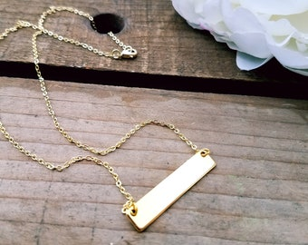16k Gold Plated Stamped Bar Gold Necklace with 16k Gold Chain, Personalized Gold Bar