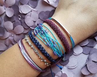 Chicago / Waterproof String Bracelets/ Waterproof Multi-strand Adjustable Handmade Bracelet. Blue, purple, plum, lavender, gray, beads