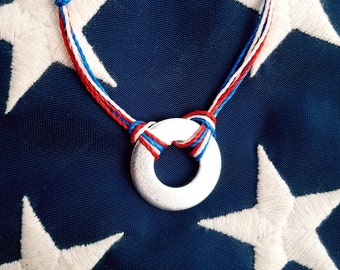 Red, White & Blue stamped washer bracelet,  engraved bracelet,  USA,  Americana, Independence day jewelry