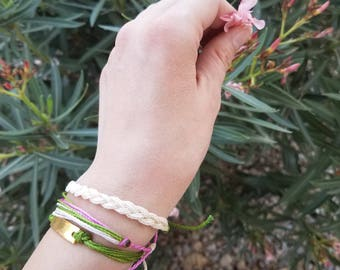Mesa: Fuchsia, Cream , Green / Waterproof String Bracelets/ Waterproof Multi-strand Adjustable Handmade Bracelet