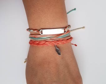 Sydney : Coral, Cream, Mint/ Waterproof String Bracelets/ Waterproof Multi-strand Adjustable Handmade Bracelet