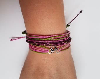 Leiden: Fuchsia, Dark Purple, Green / Waterproof String Bracelets/ Waterproof Multi-strand Adjustable Handmade Bracelet