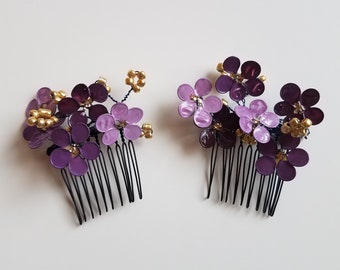 True Artisan Hand-sculpted Hair Flower Comb Set, wedding hair accessories, prom hairstyles, little girl hair flower accents