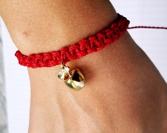 Red Waterproof Woven Bracelet/ unisex friendship bracelet/ thick woven cord bracelet with apple charm/ teacher/ red for ed