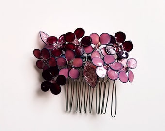 True Artisan Hand-sculpted Hair Flower Comb, wedding hair accessories, prom hairstyles, little girl hair flower accents