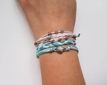 Honolulu: Blue, White, Mint/ Waterproof String Bracelets/ Waterproof Multi-strand Adjustable Handmade Bracelet