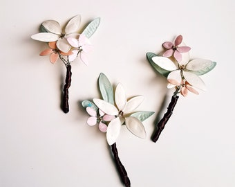 True Artisan Hand-sculpted Hair Flower Pin, wedding hair accessories, prom hairstyles, little girl hair flower accents