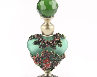 Vintage Metal Empty Crystal Perfume