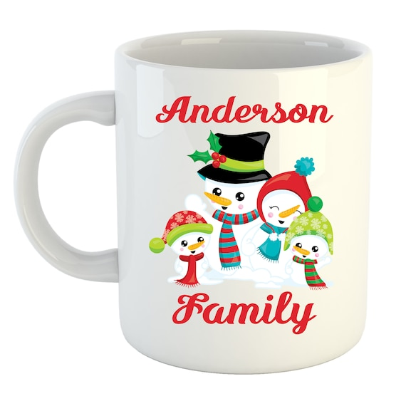 Personalized Coffee Mug snowman Christmas winter