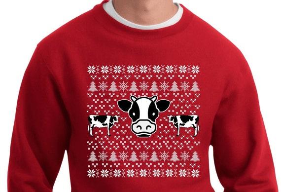 Cow Ugly Christmas Sweater Sweatshirt Etsy