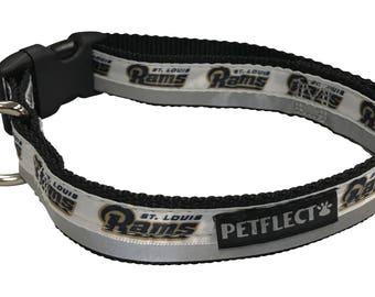 56741057bfa Los Angeles Rams Reflective Dog Collar