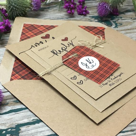 Scottish Tartan Wedding Invitations Red Tartan Wedding Etsy