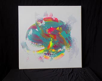 12x12, modern art, canvas art, abstract painting medium wall art acrylic art colorful wall decor living room art