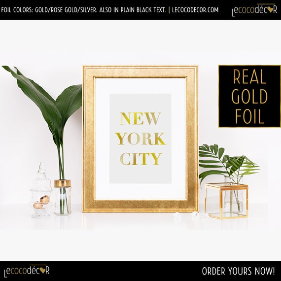 NYC Wall Print New York City Gold Foil Art Gold Foil | Etsy