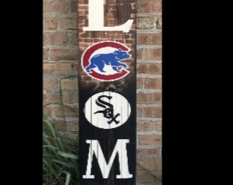 f1926682e63 House Divided Sign/Chicago Cubs/Chicago White Sox/Man cave baseball/Front  porch sign/Crosstown classic/New home/Welcome Sign/Baseball Sign