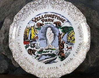 Vintage Yellowstone Park Decorative Souvenir Plate with 22K Gold Detail