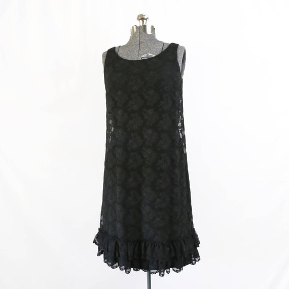 Vintage 1960s Mod Flapper Short Black Ruffled Lace Overlay Etsy