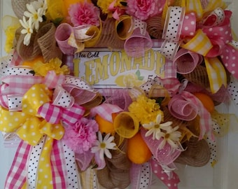Ice Cold Lemonade Wreath,Lemonade Wreath, Summer Wreath, Mother's Day Wreath