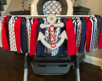 Nautical Anchor Birthday High Chair Banner