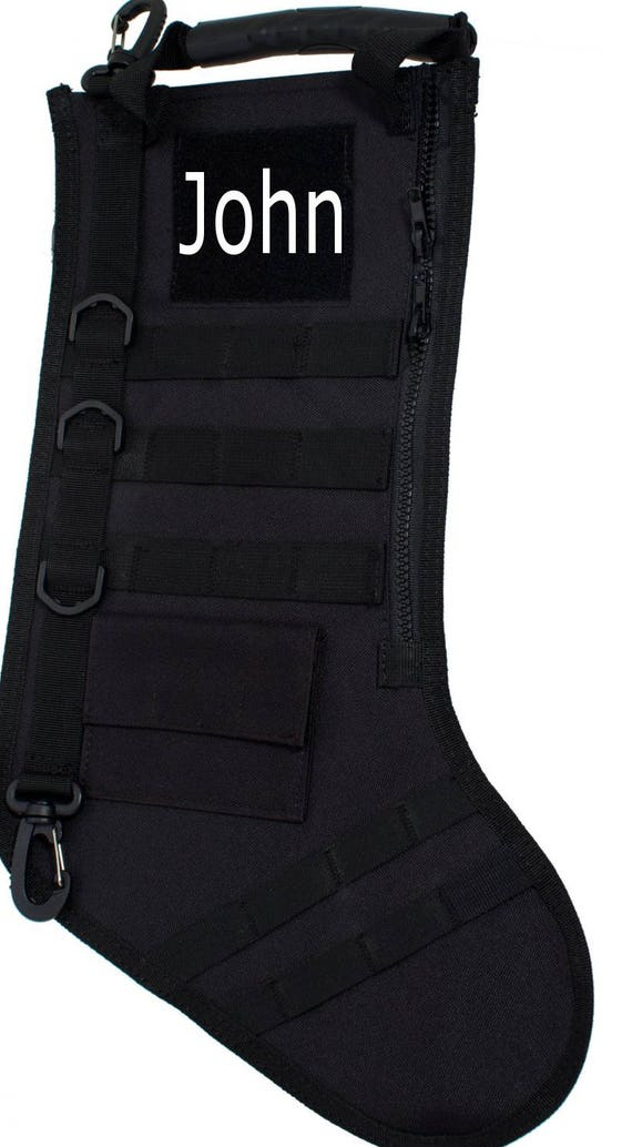 Tactical Christmas Stocking.Christmas Stocking July Tactical Personalized Stocking Black Color