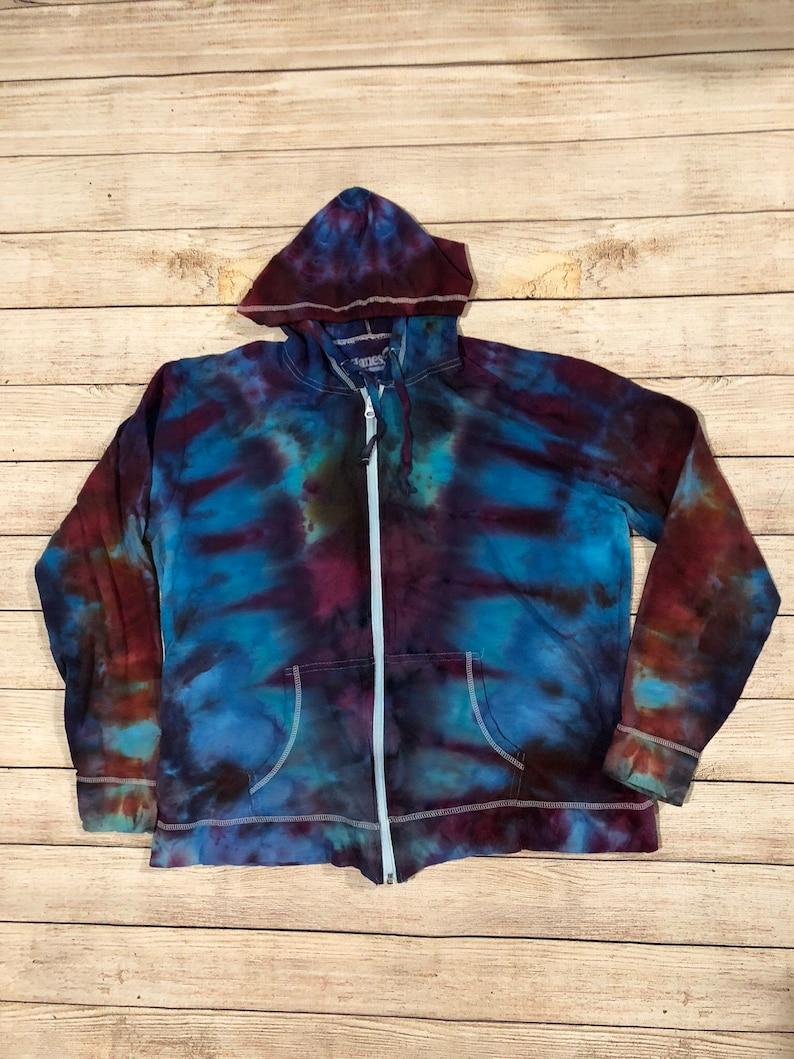 9cce724d0a6e6 Tie dye zipper hoodie, adult unisex XL purple and blue ice dyed men's  women's
