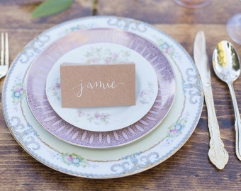 Calligraphy | Hand Lettered | Place Cards | Escort Cards | Garden Wedding | Kraft Place Cards | Dinner Party | Tablescape