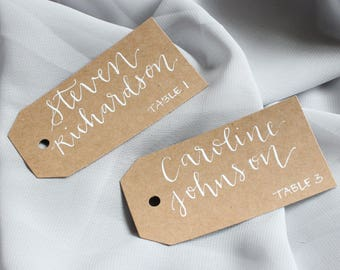Wedding Calligraphy | Kraft Gift Tags | Name Tags | Escort Cards | Calligraphy | Gift Tags | Wedding Details | Welcome Bag | Place Cards