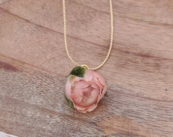 Real flower necklace, gold snake chain with natural rose pendant, unique gift for her