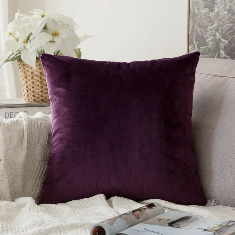 Eggplant Purple Velvet Pillow Cover  Dark Purple Throw Pillow image 0