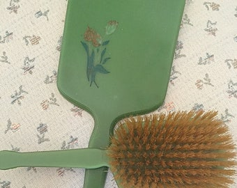 Vintage 1930s Vanity Mirror and Brush Set/Lucite/Celluloid Vanity Set/ Green Vanity Set/ Floral Vanity Set/Dupont USA