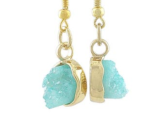 Aqua Druzy Crystal and Gold Tone Earrings