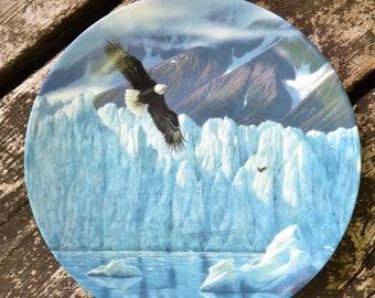 Vintage Bradford Exchange Collectible Plate - Icy Majesty, Alaska: The Last Frontier Glacier Mountain Eagle