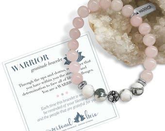 Inspirational Bracelet For Her, Rose Quartz Chakra Bracelet, Breast Cancer Bracelet, Encouragement Gift, Heart Chakra Jewelry, Warrior