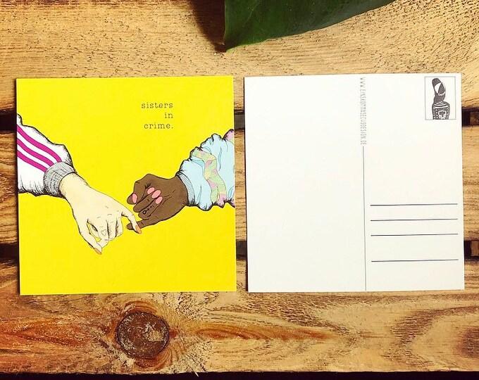"Postcard ""Sisters in crime"""