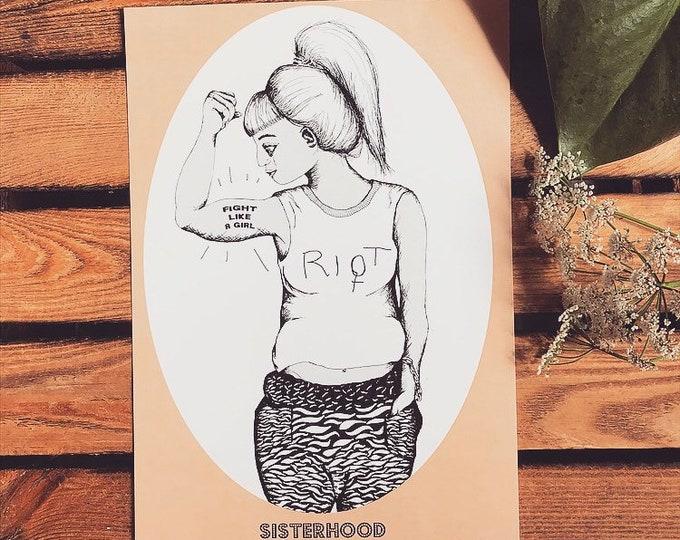 """SALE***Feminist Art Print """"Sisterhood - RIOT"""""""
