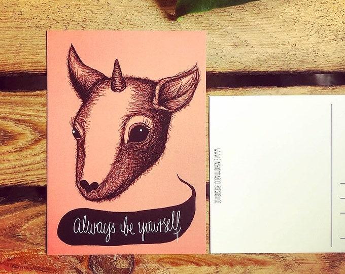 """SALE***ostkarte """"Always be yourself"""""""