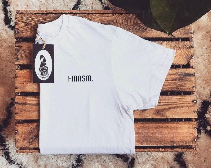"""Hand-printed Fairtrade T-Shirt """"FMNSM"""""""