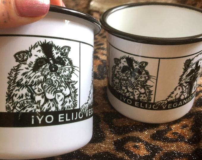 """Robust handle cup from enamel """"Yo elijo veganismo"""""""