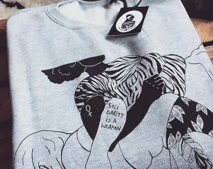 "Hand-printed Fairtrade sweater ""Solidarity is a weapon"""