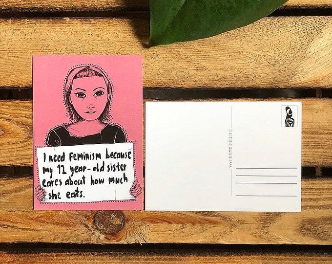 """SALE***Postcard """"I need feminism"""""""