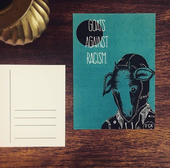 "Postcard ""Goats Against racism"""