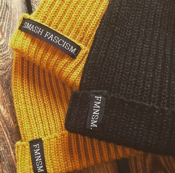 "Knitting cap ""FMNSM"" or ""SMASH FASCISM"""