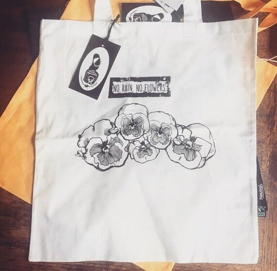 "S * A * L * E * * * * * * Organic cotton bag ""No rain no flowers"""