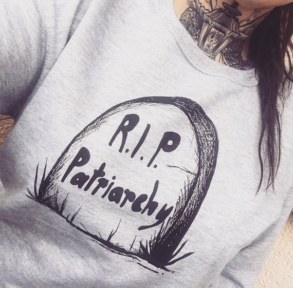 "Bio sweatshirt with screen print ""R.I.P. patriarchy"""