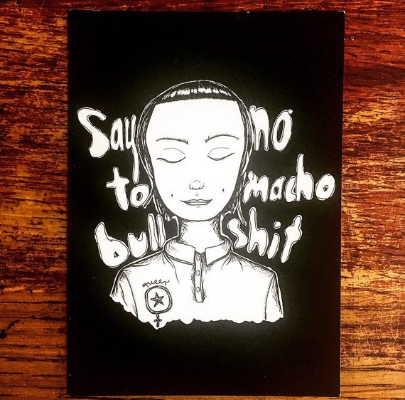 "Postcard ""Say No to macho bull"""