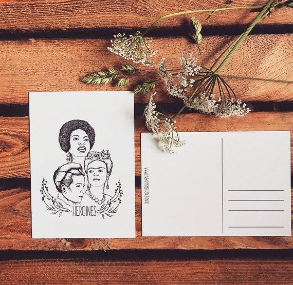 """Postcard """"Heroines"""" * Frida Kahlo * Nina Simone * Simone de Beauvoir *"""