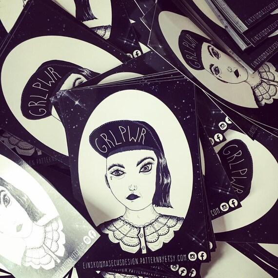 """Sticker """"GRLPWR"""" 15 pieces"""