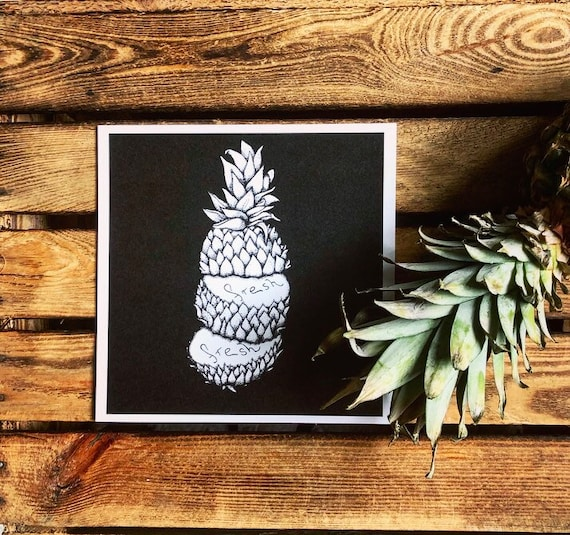 "Art print on recycled cardboard ""pineapple"""