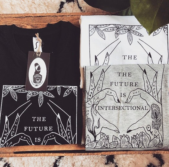 "Handprinted Fairtrade T-Shirt ""The future is intersectional"""