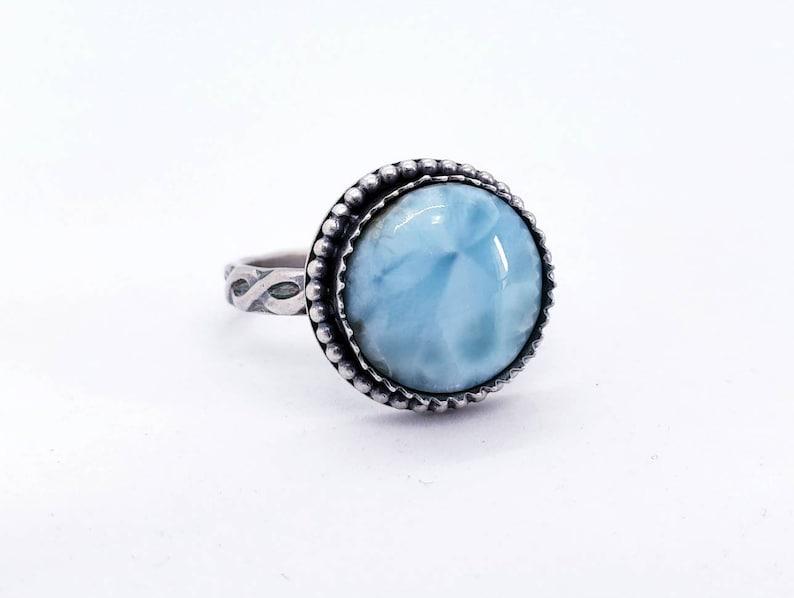 Choose Your Size Larimar Ring Dominican Republic Larimar Made To Order Round Stone Ring Larimar Jewelry OOAK Handmade Custom Jewelry